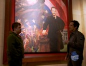 "Patton Oswalt and Ben Stiller talk turkey in front of a Robin Williams-ized painting of Teddy Roosevelt in Comedy Central's ""Reel Comedy"" special."