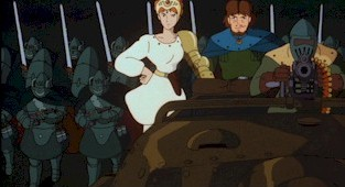 Princess Kushana, her chief counselor Kurotowa and the Tolmekian army advance upon the cornered Valley people.