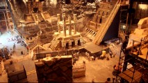 Time-lapse photography showcases the elaborate construction of the City of Gold set on Universal's Stage 12.