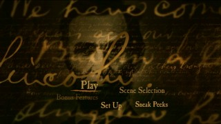 Abraham Lincoln's end credits appearance makes it to the Disc 1 Main Menu, where it might just be the most exciting visual.