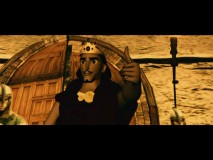 The opening scene animatic presents historical treasure hunt in crude CGI, including this king, who bears a slight resemblance to Buddy Christ.
