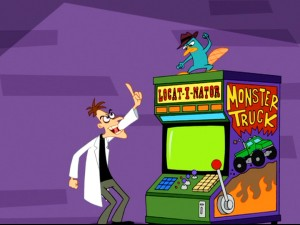 Dr. Doofenshmirtz momentarily outwits Agent P with a fake Monster Truck Locat-i-nator that is really a trap.