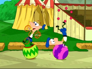 Phineas and Ferb have a ball (several, actually) during their vacation in Merry Old England.