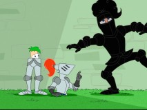 Two halves of one jouster, Phineas and Ferb spot the fabled Black Knight running by.