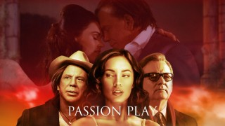 Lily and Nate share a tender moment behind the static cover poses of Mickey Rourke, Megan Fox, and Bill Murray on the Passion Play Blu-ray menu.