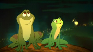 In frog form, Naveen and Tiana get a little illumination from friendly Cajun firefly Ray.