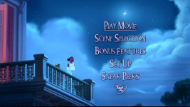 The DVD's sparsely-animated main menu takes us to the balcony wish-making scene focused upon in the movie's trailers.