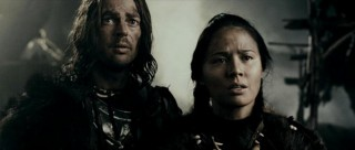 Ghost (Karl Urban) and Starfire (Moon Bloodgood) emote ever so slightly more than usual at seeing the mysterious white horse.