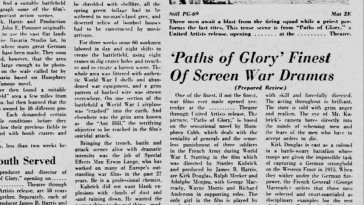 "A review extolling ""Paths of Glory"" is seen as part of the slideshow attached to a brief audio interview with director Stanley Kubrick."