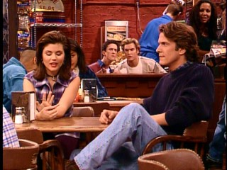 "Professor Lasky came between longtime sweethearts Zack (Mark-Paul Gosselaar) and Kelly (Tiffani-Amber Thiessen), prompting this Student Union espionage in the episode ""Kelly and the Professor."""