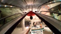 "The mall flips upside down as Victor T. Lopez slides down an escalator in the fast-paced short ""Sugar."""