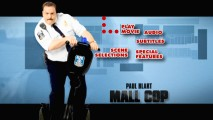 Paul Blart, Mall Cop tilts his Segway on the fun map-backed animated main menu.