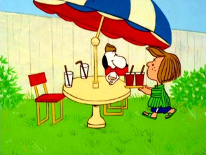 "This is way better than obedience school! Snoopy has Peppermint Patty waiting on him with cold beverages in ""He's Your Dog, Charlie Brown."""