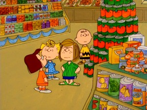 "Instead of the art museum field trip they're supposed to be on, Marcie, Sally, Peppermint Patty, and Charlie Brown wind up at the supermarket next door and treat it with the same amount of respect in ""There's No Time for Love, Charlie Brown."""