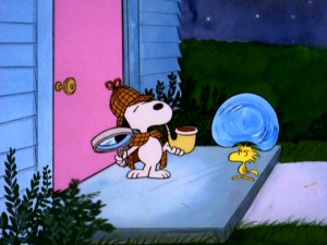 "In ""It's a Mystery, Charlie Brown"", every big bubble Snoopy blows from his Sherlock Holmesian pipe lands right on Woodstock, making him wet."