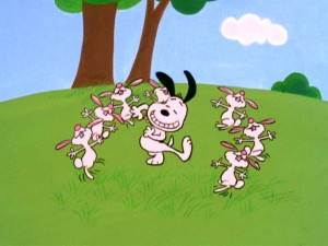 "Snoopy dances with half a dozen bunnies in a surreal interlude from ""It's the Easter Beagle, Charlie Brown."""