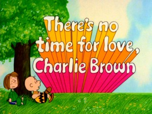 "Shooting out from the horizon with colorful trails, the title logo for ""There's No Time for Love, Charlie Brown"" is probably the grooviest one on this set."