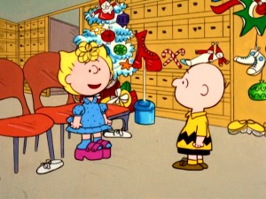 Sally shows Charlie Brown the discounted, nearly-outdated platform shoes she would like to purchase on the gang's Easter shopping excursion in an unseasonably-decorated department store.
