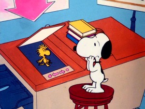 Wrapped up in his library photocopying of amusing dog obedience tips, Snoopy realizes he's also accidentally Xeroxed his best friend Woodstock.