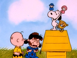 "Snoopy's Valentine's Day ""pawpet"" show covers paying audience member Lucy with mud."