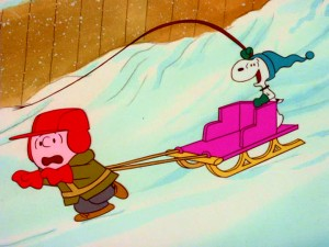 "Snoopy turns the tables during Charlie Brown's lesson on sled dogs at the beginning of the little-known 1978 special ""What a Nightmare, Charlie Brown."""