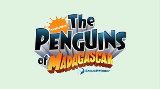 "The title logo for ""The Penguins of Madagascar"" credits both Nickelodeon and DreamWorks while, like most of the series, avoiding the edges of the widescreen frame."