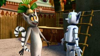 "King Julien quickly warms to the idea of a robot mirroring his every action in ""Lemur See, Lemur Do."""