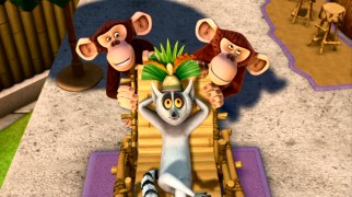 "In ""Eclipsed"", chimpanzees Mason and Phil have a perfectly-timed go at their oft-inconsiderate lemur zoo-mate King Julien."