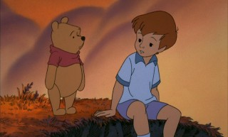 Winnie the Pooh and Christopher Robin enjoy the last afternoon of summer together.