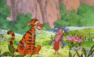 Tigger watches on as lavender butterflies really take to Piglet.
