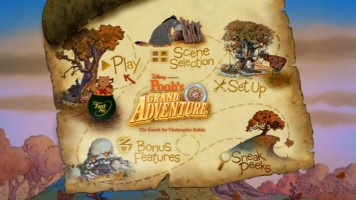 Pooh pops out of the FastPlay pot in this still from the animated main menu.