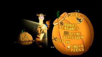 Tigger gets his turn in the flashlight on the DVD's main menu.