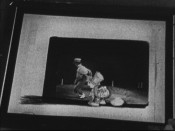 "An acetate sheet of Jiminy Cricket warming himself is laid over a frame of an actor doing the same in ""Live-Action Reference Footage."""