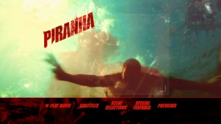 Computer-animated piranhas attack a swimmer on the DVD's main menu.