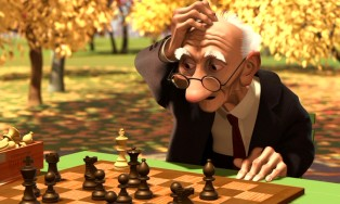 "This old man seems stumped by his opponent (himself) in the 1990s Oscar winner ""Geri's Game."""