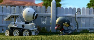 "The two dogs of ""Planet 51"" -- probe on wheels Rover and ""Alien"" homage Ripley -- meet here."