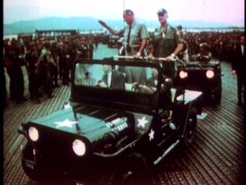 """Snapshot in Time: 1967-68"" supplies plenty of footage from the dramatized era, like this clip of President Lyndon Johnson showing his appreciation to the troops in Vietnam."