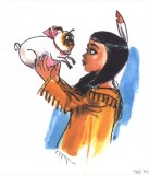 This concept art from Pocahontas's design gallery features an early version of the character with Percy.