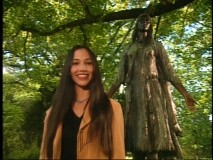 "Irene Bedard (the voice of Pocahontas) hosts ""The Making of Pocahontas."" Here she stands in front of a statue of the real Pocahontas in Jamestown, Virginia."