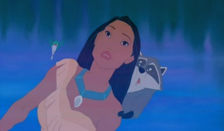 Pocahontas is neither the first nor last Disney protagonist to literally reflect on who she is. That's what she does here, with the company of Flit and Meeko.