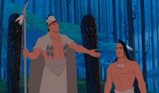 Pocahontas's father Chief Powhatan commends Kocoum, who he'd like to become his son-in-law.