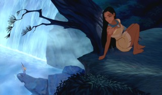Pocahontas catches a glimpse of a strange new visitor.