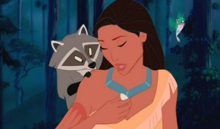 Pocahontas contemplates her new bling, with the usual company of Meeko and Flit.