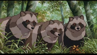 Tanuki sentries (in their real form) watch the activity of the Tama Hills developers.