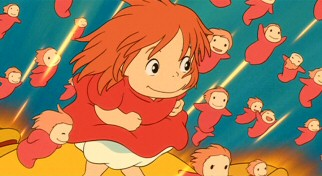 With her uniformly smaller younger sisters cheering her on, a newly human Ponyo makes her move for land.