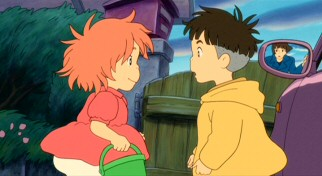 Ponyo and Sosuke get their first look at each other since she turned human in a magic moment Lisa's side view mirror shows her watching.