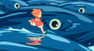 Ponyo (formerly Brunhilde) races on the backs of forceful fish waves in an effort to reunite with her best friend Sosuke.