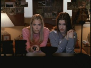 "Brooke and Sam watch TV, just like you would be if you were watching ""Popular."""