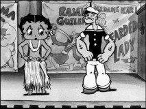 Betty Boop shares her series and a dancing stage with Popeye the Sailor in his introductory cartoon.