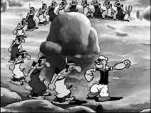"Fourteen Native Americans are no match for Popeye's brute force in ""I Yam What I Yam."""
